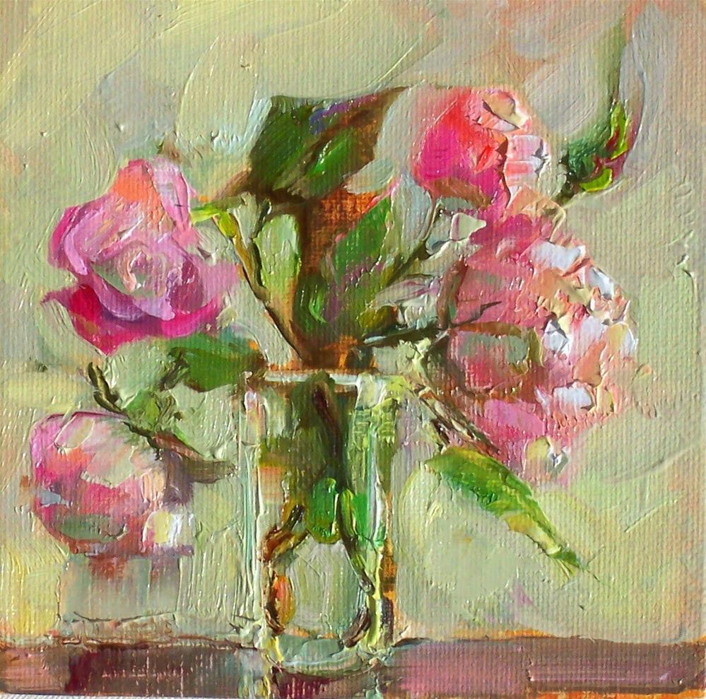 """Late Roses,still life, oil on canvas,6x6,price$175"" original fine art by Joy Olney"