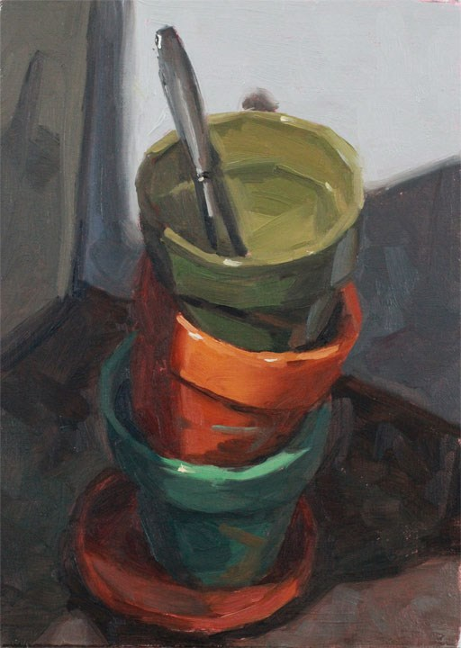 """Stacked Pots"" original fine art by Nealy May Riley"