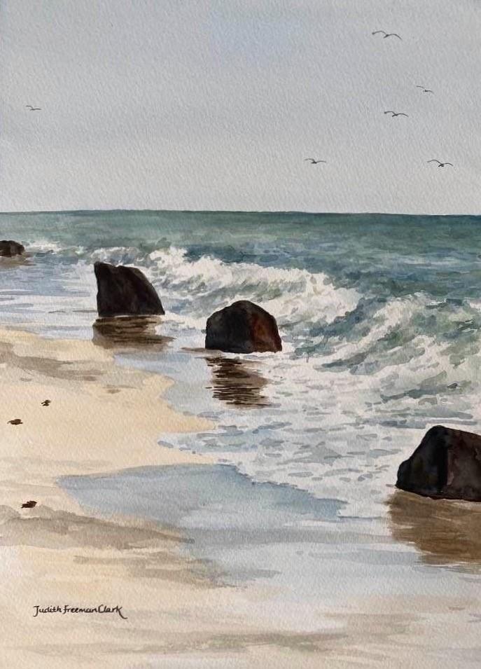 """Gulls at Aquinnah"" original fine art by Judith Freeman Clark"