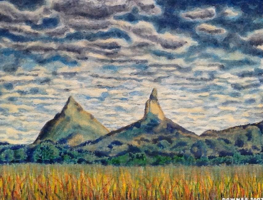 """272 GLASSHOUSE MOUNTAINS 9"" original fine art by Trevor Downes"