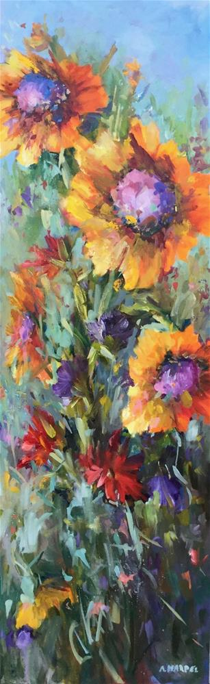 """""""Sunflower meadow filled oil painting"""" original fine art by Alice Harpel"""