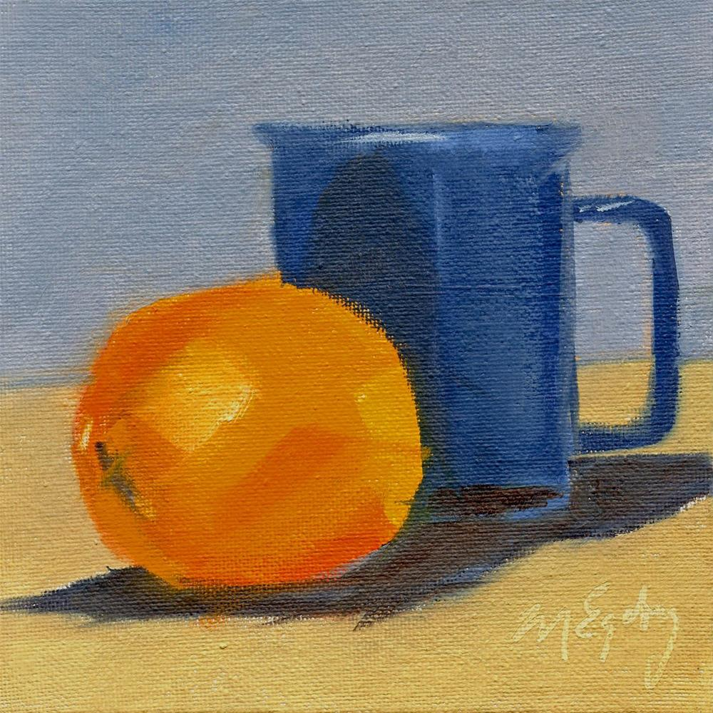 """Orange with Blue Cup"" original fine art by Mitch Egeberg"