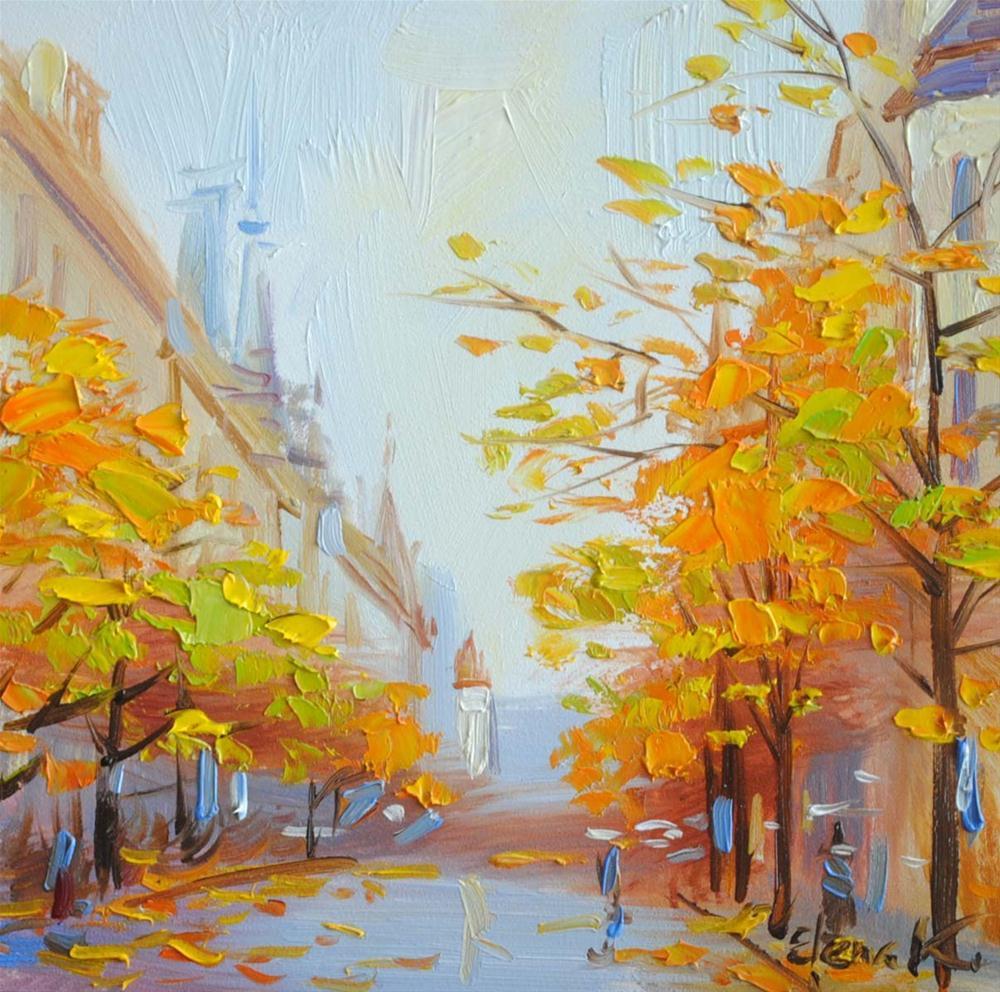 """""""Autumn in the City"""" original fine art by Elena Katsyura"""