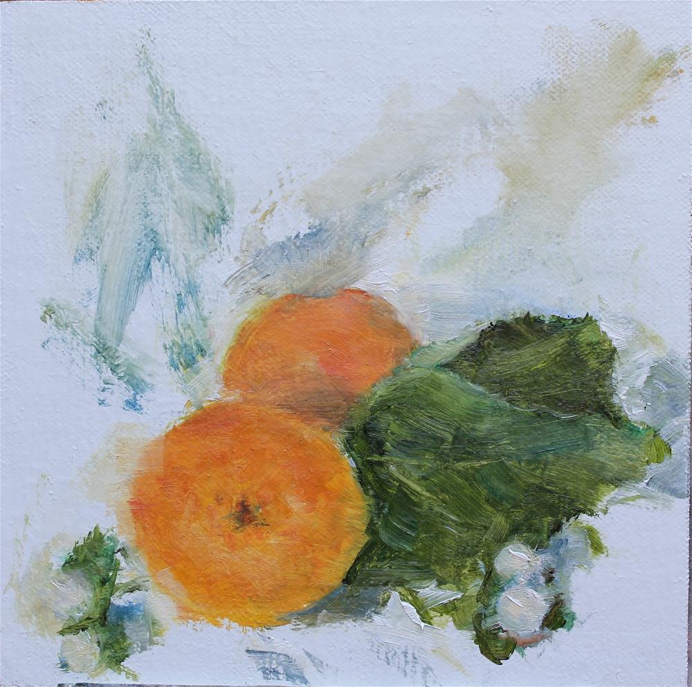 """Apricots and Hypericum"" original fine art by Karen Solorzano"