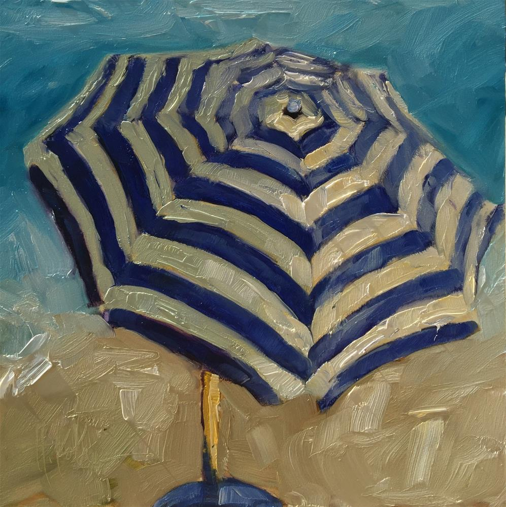 """Beach Umbrella"" original fine art by Hallie Kohn"