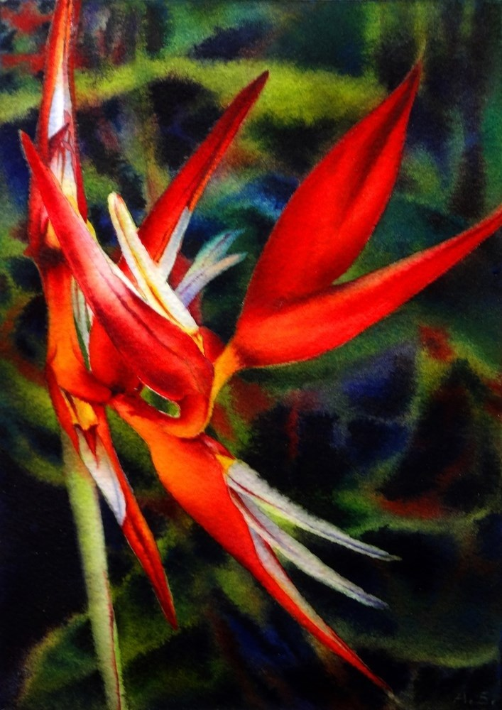 """Heliconia Dance"" original fine art by Arena Shawn"