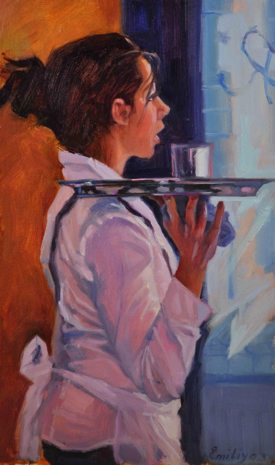 """Cafe Encounter 10x16 oil on gessoed board"" original fine art by Emiliya Lane"