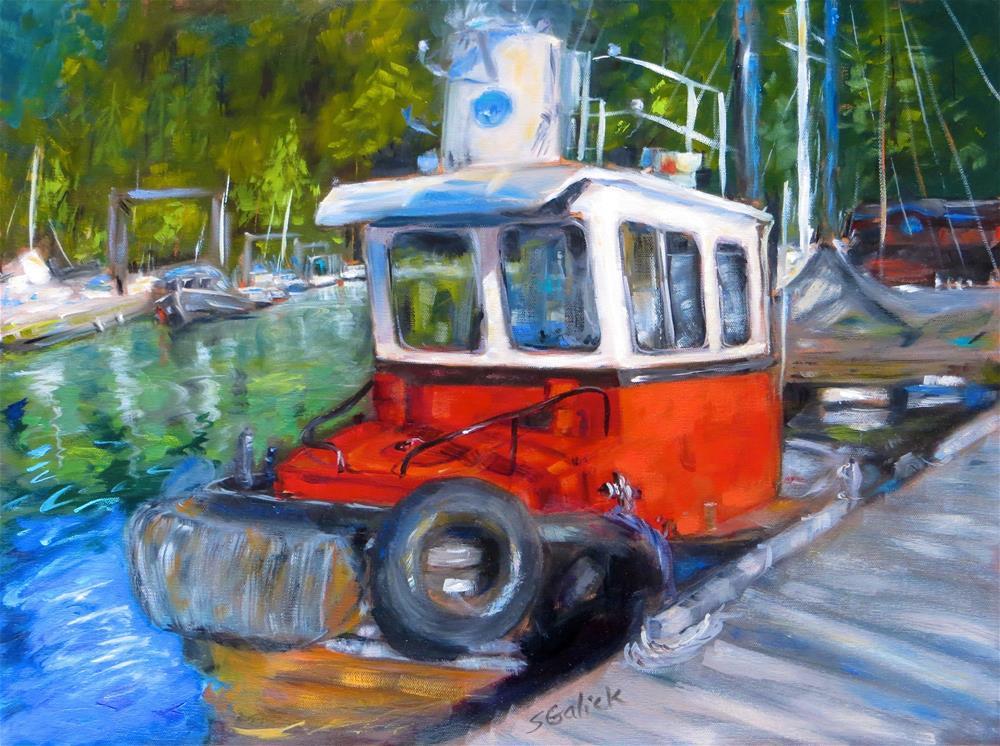 """Red West Coast Tug"" original fine art by Susan Galick"