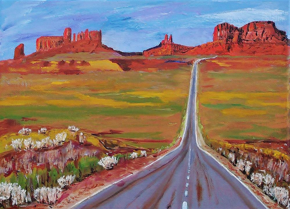 """""""Highway 163 - Monument Valley"""" original fine art by Mike Caitham"""