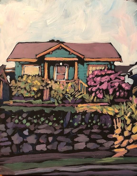 """Tiny Seattle House"" original fine art by Kat Corrigan"