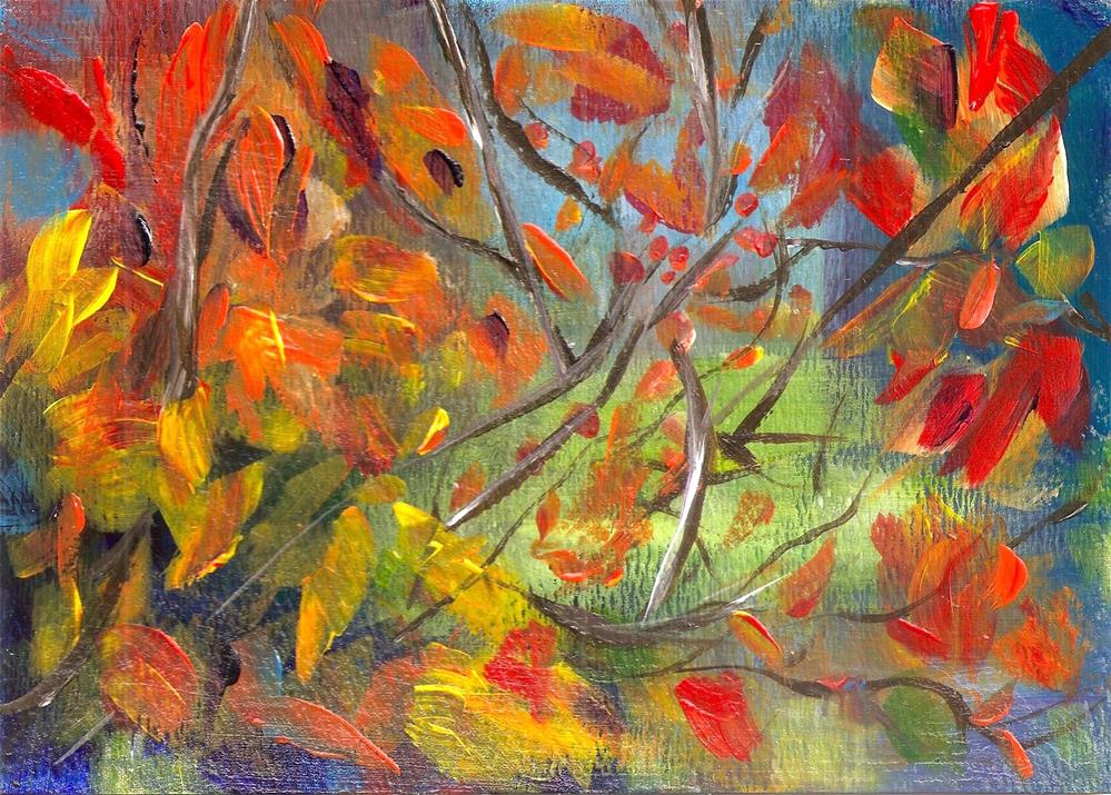 """5x7 Persimmon Tree Abstract Impressionistic Acrylic Painting"" original fine art by Penny Lee StewArt"
