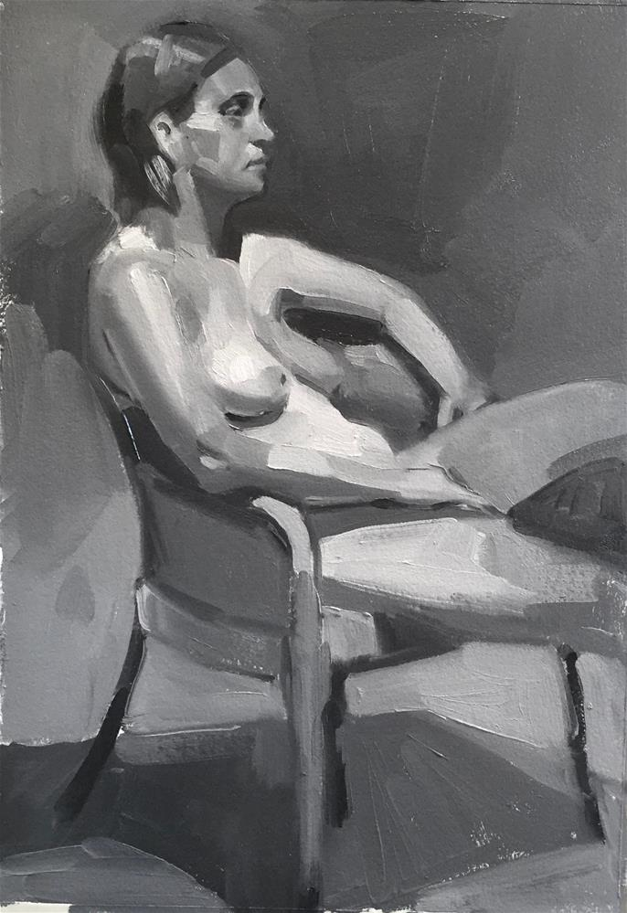 """Seated Nude (Black and White)"" original fine art by Sarah Sedwick"