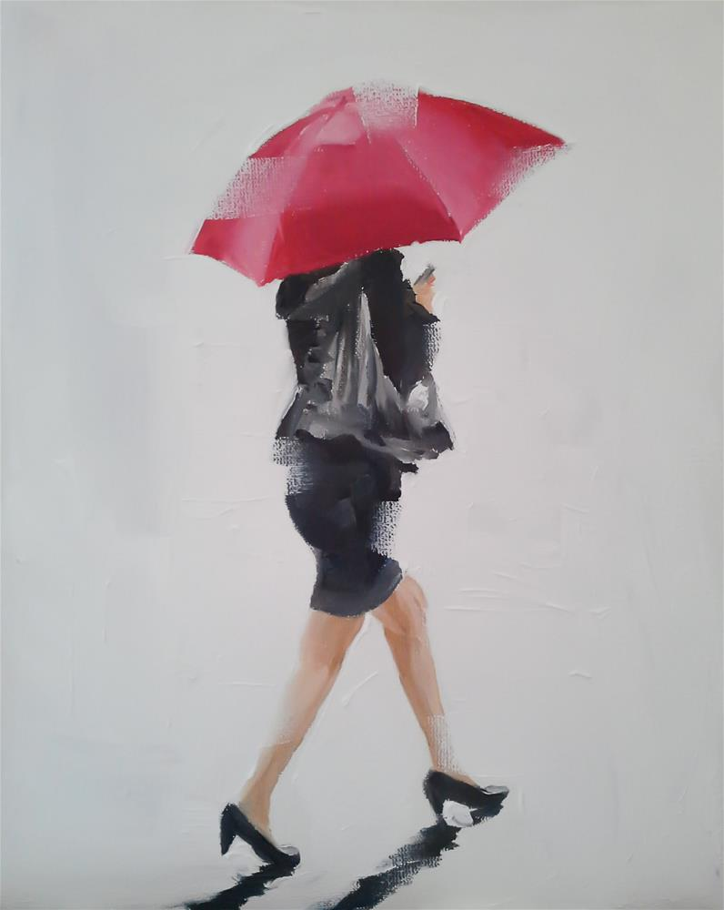 """""""The Lady with Red Umbrella"""" original fine art by James Coates"""