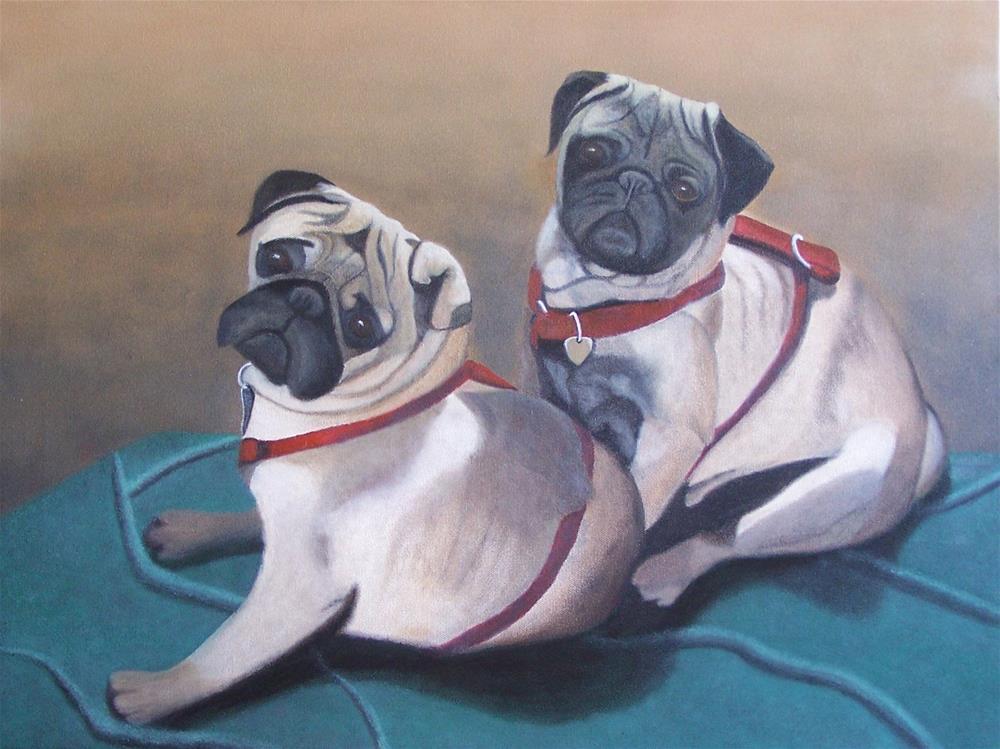"""""""Two pugs on a blanket"""" original fine art by John Marcum"""