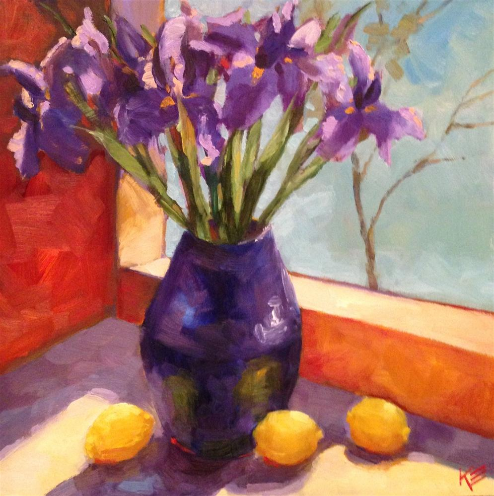 """Irises in the Morning"" original fine art by Krista Eaton"
