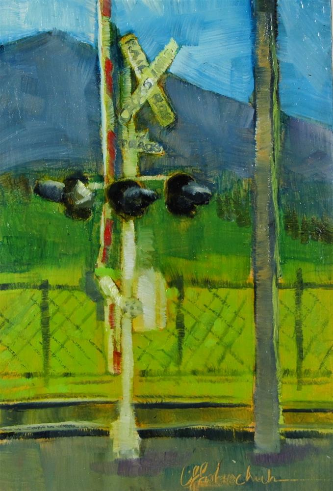 """""""RR Crossing"""" original fine art by Christine Holzschuh"""
