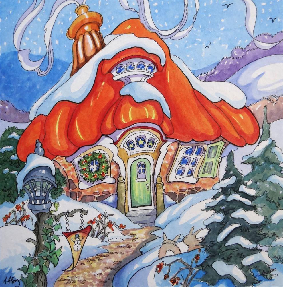 """Yuletide Cottage Storybook Cottage Series"" original fine art by Alida Akers"