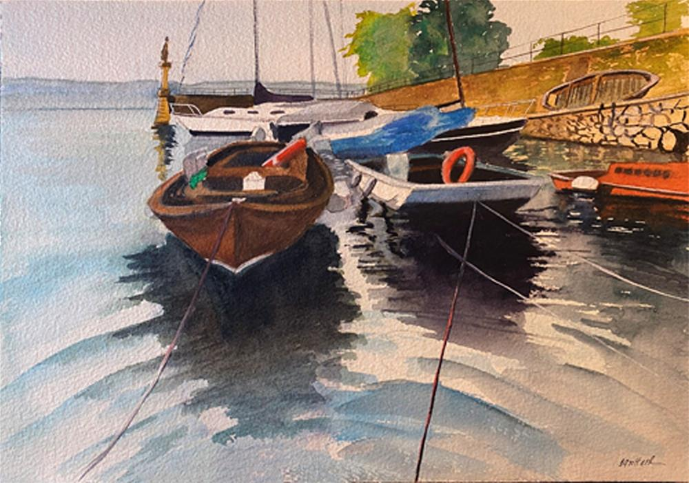 """""""BOATS IN HARBOR"""" original fine art by Bunny Griffeth"""
