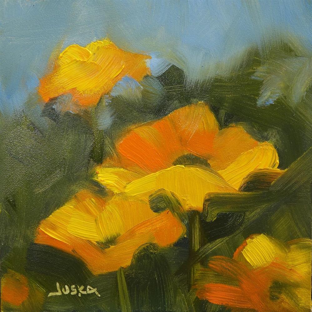 """Tiny Yellow Poppies"" original fine art by Elaine Juska Joseph"