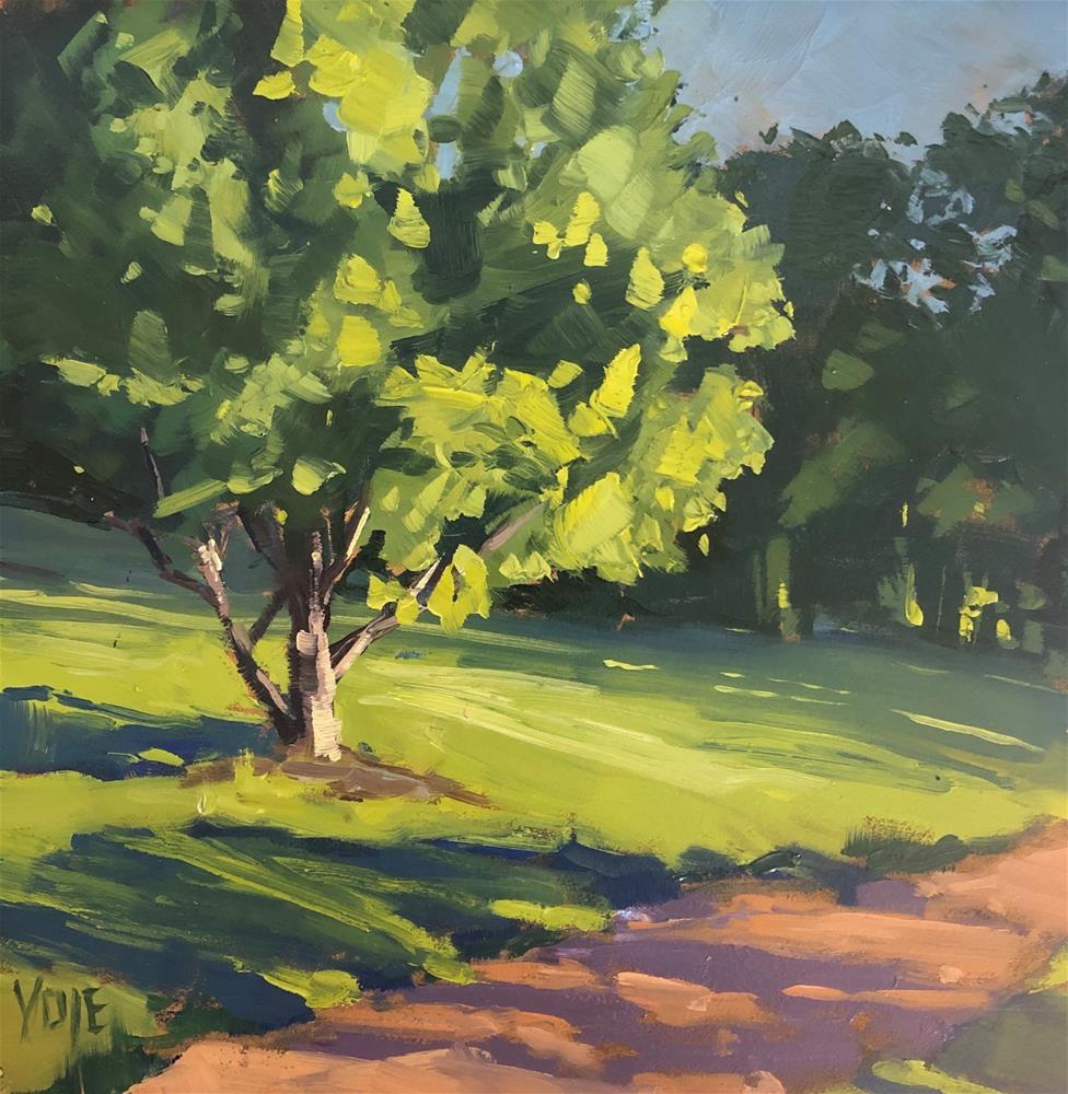 """Cad Green Tree"" original fine art by Patty Voje"