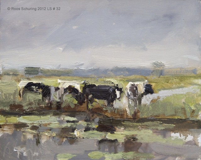 """Landscape spring #32 Cows in rain with Lotus - Koeien"" original fine art by Roos Schuring"