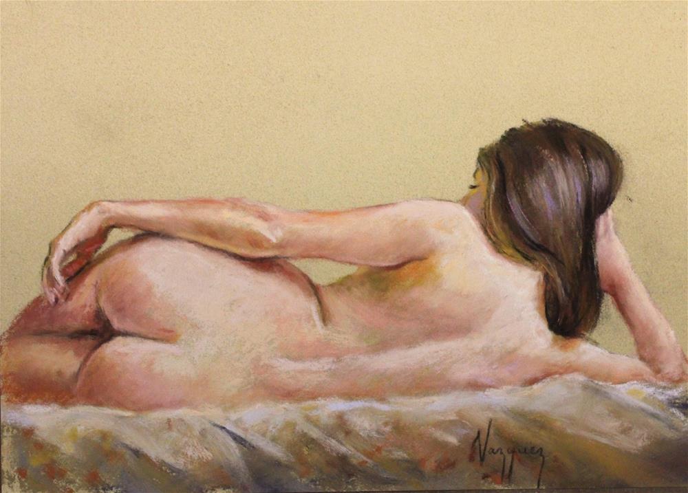 """Reclined pastel nude"" original fine art by Marco Vazquez"