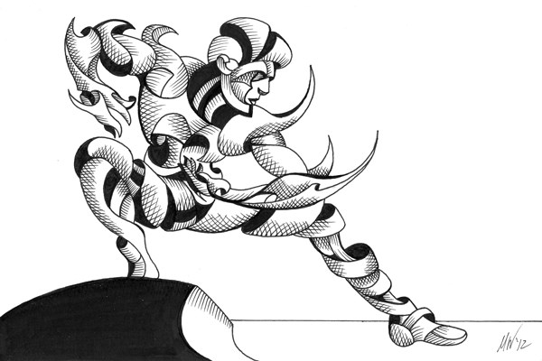 """Mark Webster - Dave 03-03 - Abstract Geometric Futurist Figurative Ink Drawing"" original fine art by Mark Webster"