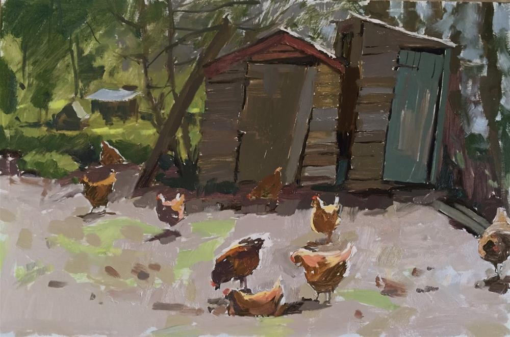 """""""Leaning sheds and allotment hens"""" original fine art by Haidee-Jo Summers ROI"""