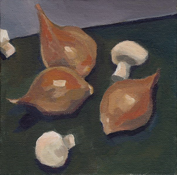 """Shallots and Button Mushrooms"" original fine art by J M Needham"