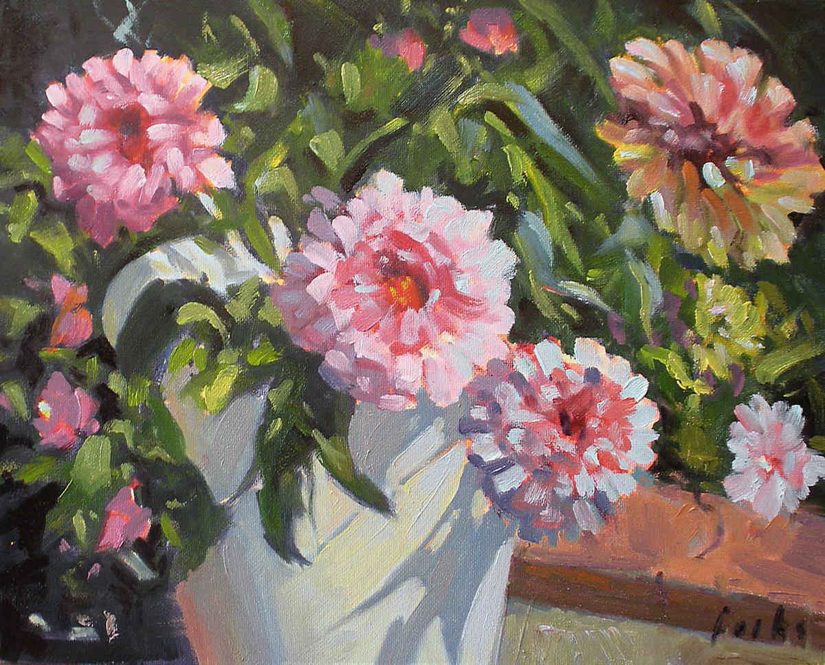 """""""Patio Zinnias"""" original fine art by David Forks"""