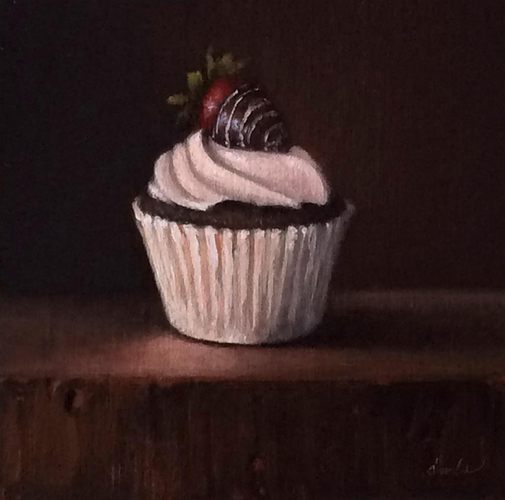 """Chocolate Cupcake with Strawberry"" original fine art by Darla McDowell"
