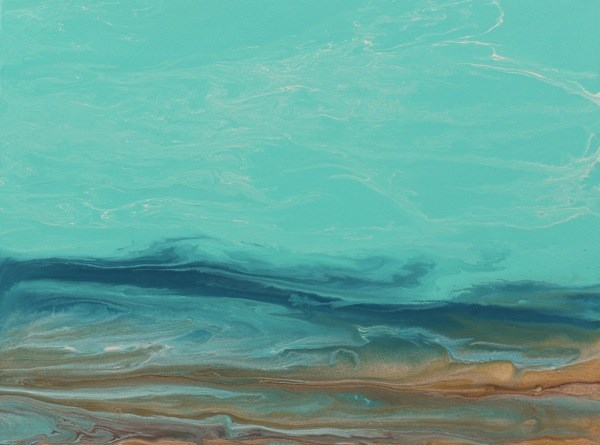"""""""Abstract Seascape, Ocean Coastal Living Decor Whispers on The Water III by Colorado Contemporary A"""" original fine art by Kimberly Conrad"""