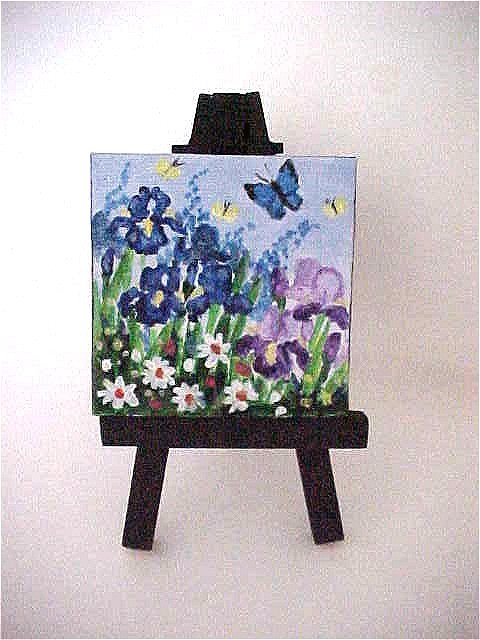 """""""Irises and Daisies Mini with Easel"""" original fine art by Patricia Ann Rizzo"""