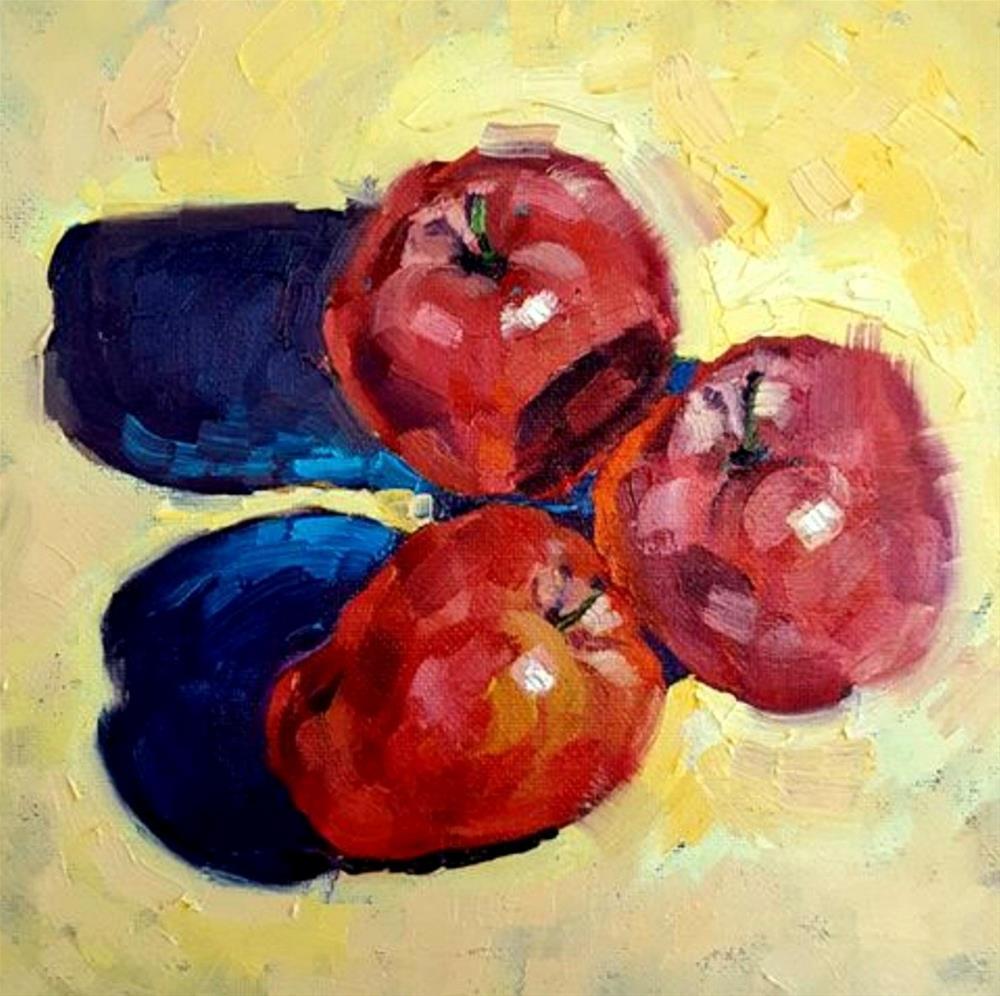 """Three Apples"" original fine art by Bhavna Misra"