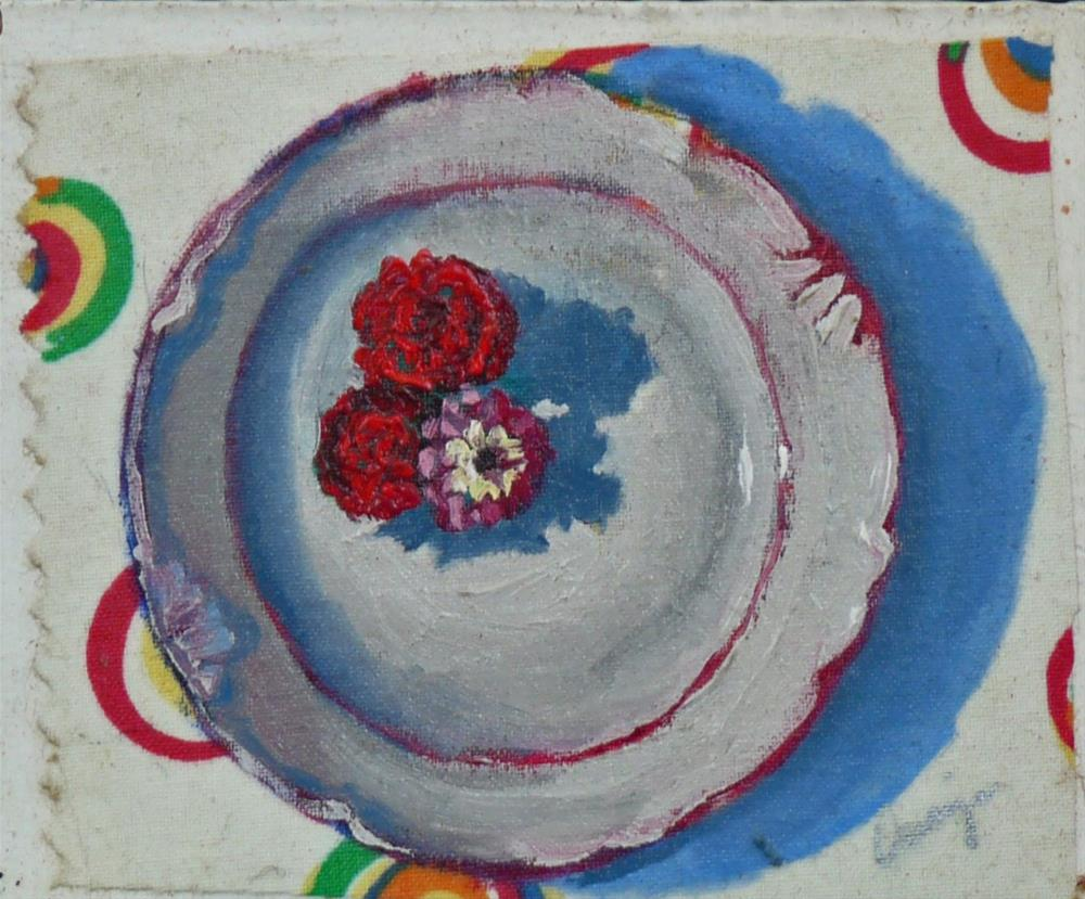 """Zinnias"" original fine art by Sharman Owings"