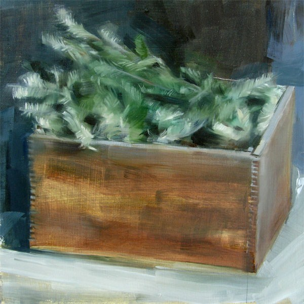 """""""Pine Branches in Wooden Crate (no.73)"""" original fine art by Michael William"""