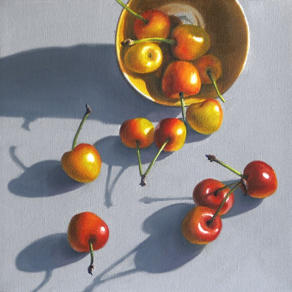 """""""Spilled Rainier Cherries"""" original fine art by Nance Danforth"""