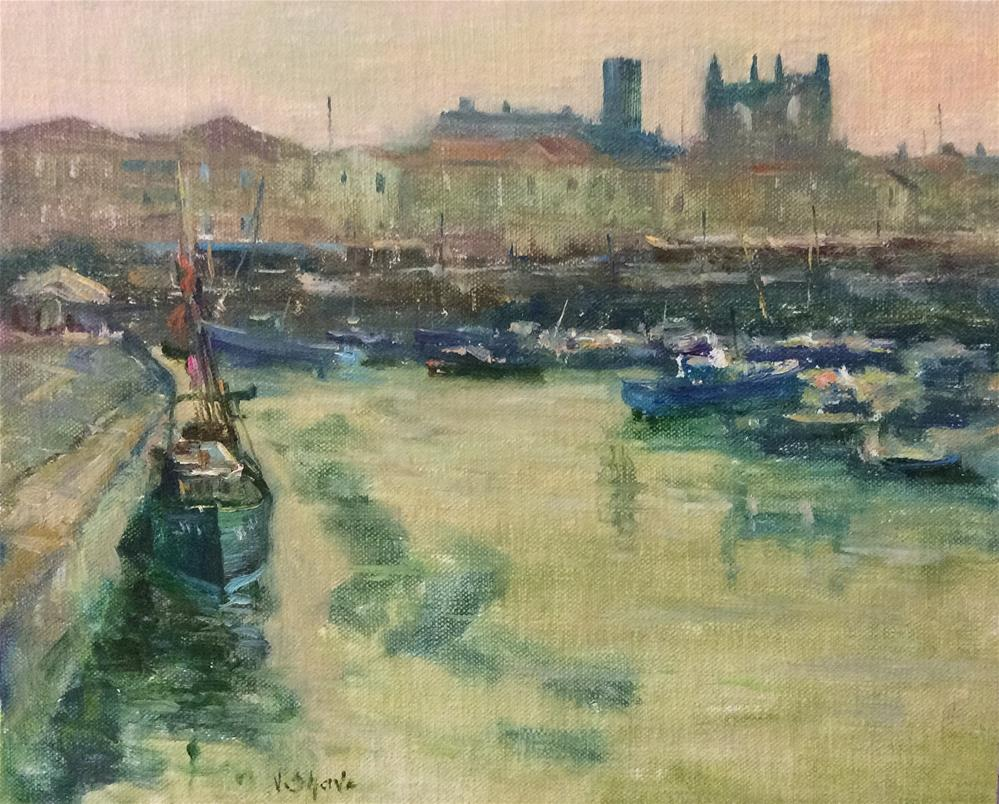 """The Harbour at St Martin de Re"" original fine art by John Shave"