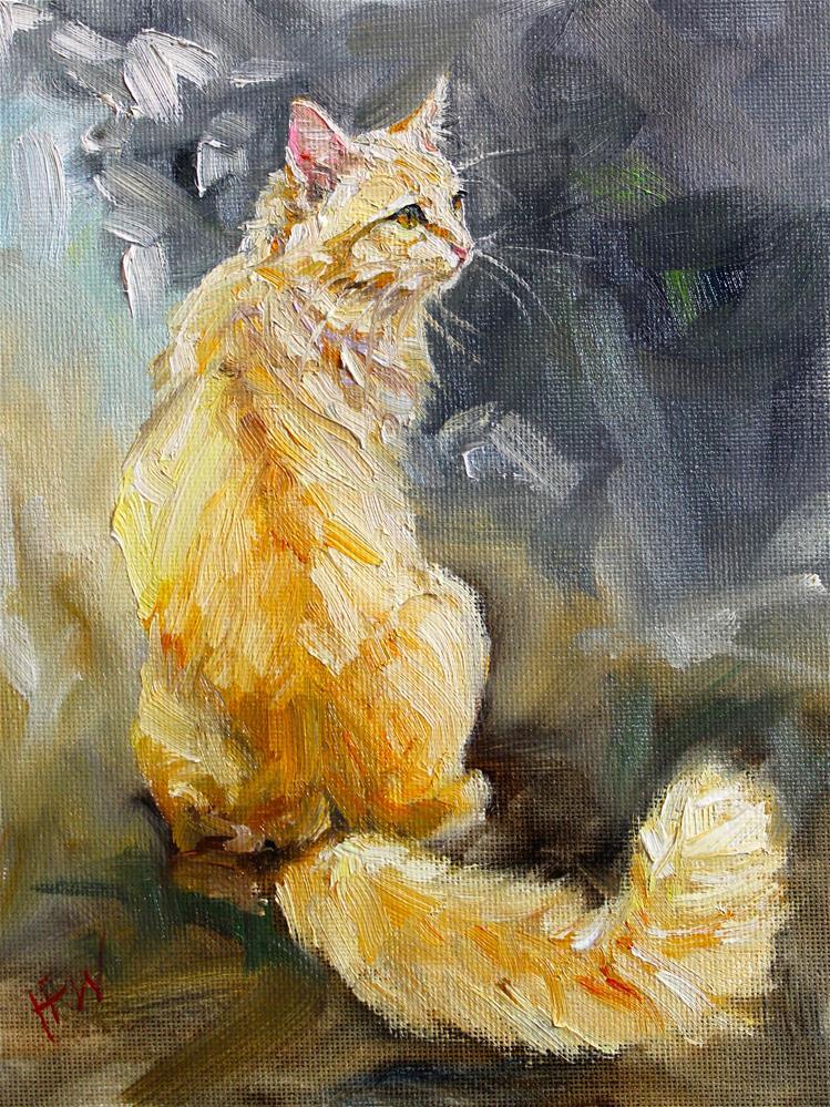 """""""Orange and Fluffy"""" original fine art by H.F. Wallen"""
