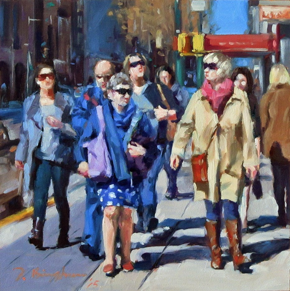 """Urban Pedestrians -- DPW The Crowd of People Challenge"" original fine art by Joanna Bingham"
