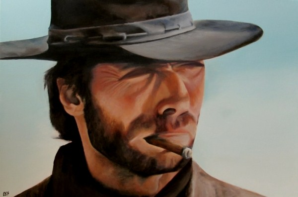 """Custom Painting: Clint Eastwood"" original fine art by ~ces~ Christine E. S. Code"