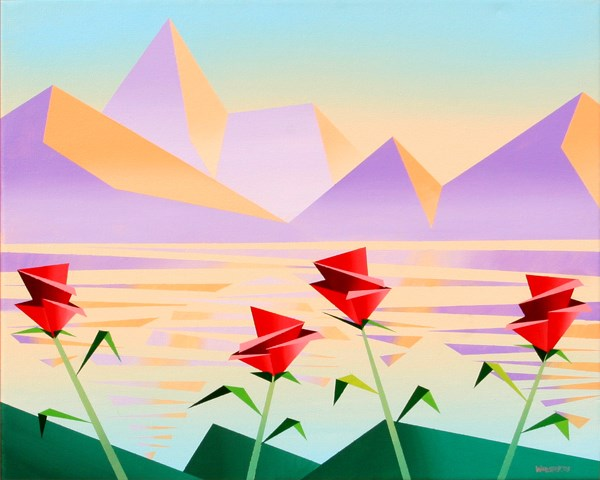 """""""Mark Webster - Abstract Purple Mountains with Flowers #1 - Geometric Cubist Acrylic Painting"""" original fine art by Mark Webster"""