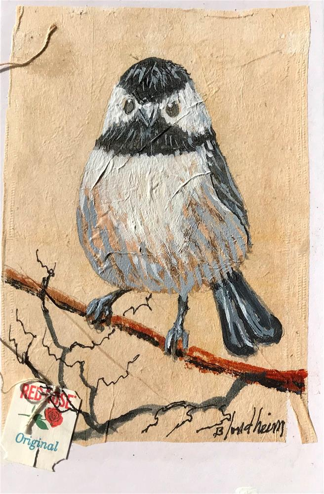 """Tea Bag Painting Black Capped Chicadee"" original fine art by Linda Blondheim"