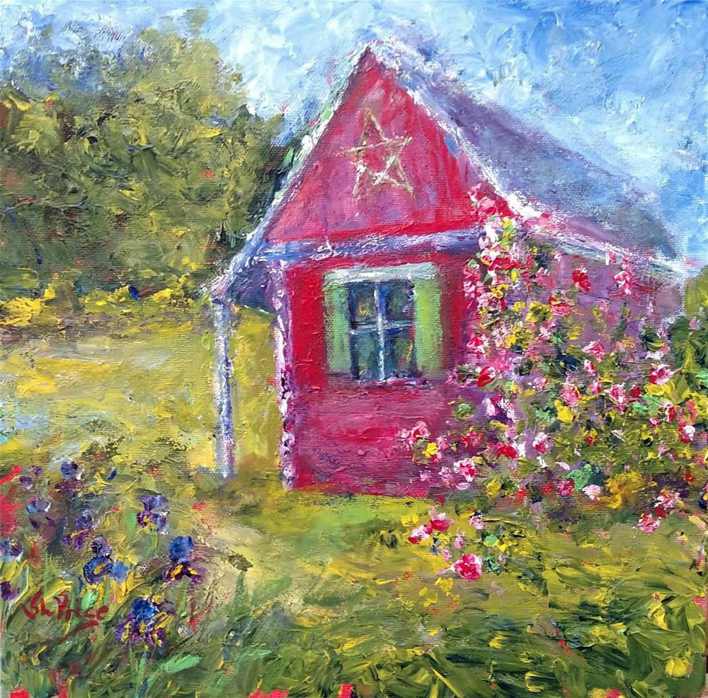 """""""The Rose Shed"""" original fine art by S. Lynne Price"""