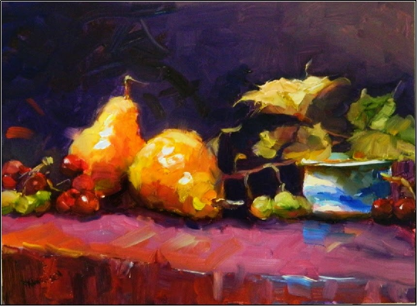 """Bartlett Pears with Grapes, 12x16, oil on board"" original fine art by Maryanne Jacobsen"