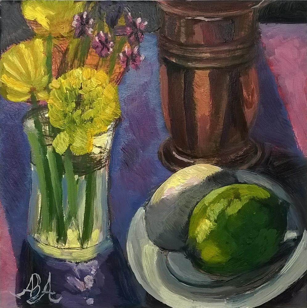 """""""Yellow Flowers with Egg and Lime"""" original fine art by Adriana B. Almquist"""