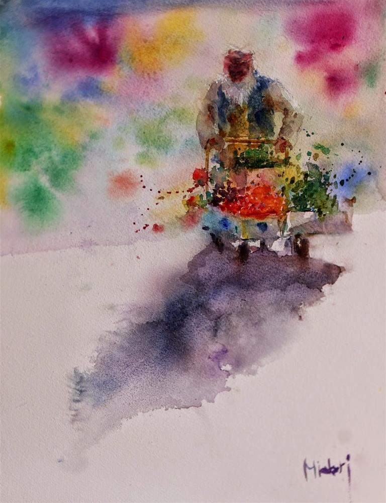 """Al Ain vegetable souq."" original fine art by Midori Yoshino"