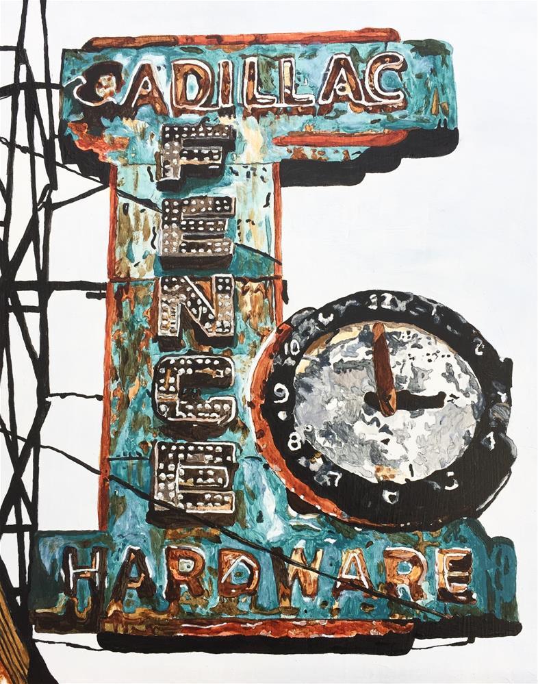"""""""Cadillac Fence Hardware"""" original fine art by Sue Sneeringer"""
