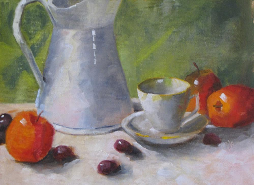 """""""Cup and Pitcher with Fruit"""" original fine art by Louise Kubista"""
