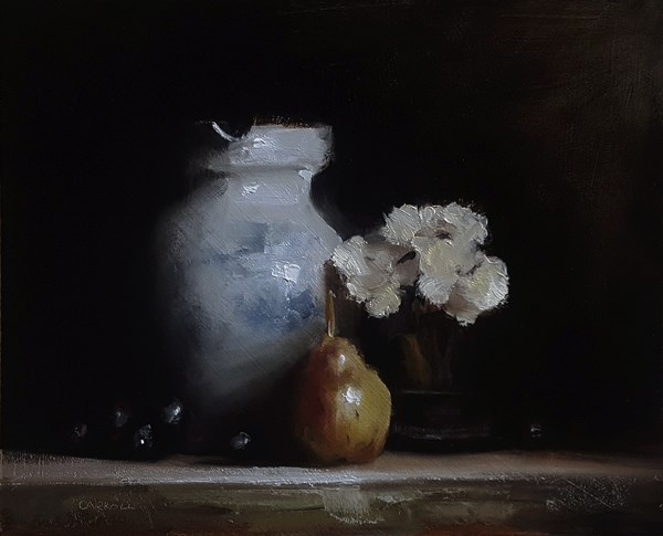 """""""Vase with Flowers and Pear"""" original fine art by Neil Carroll"""